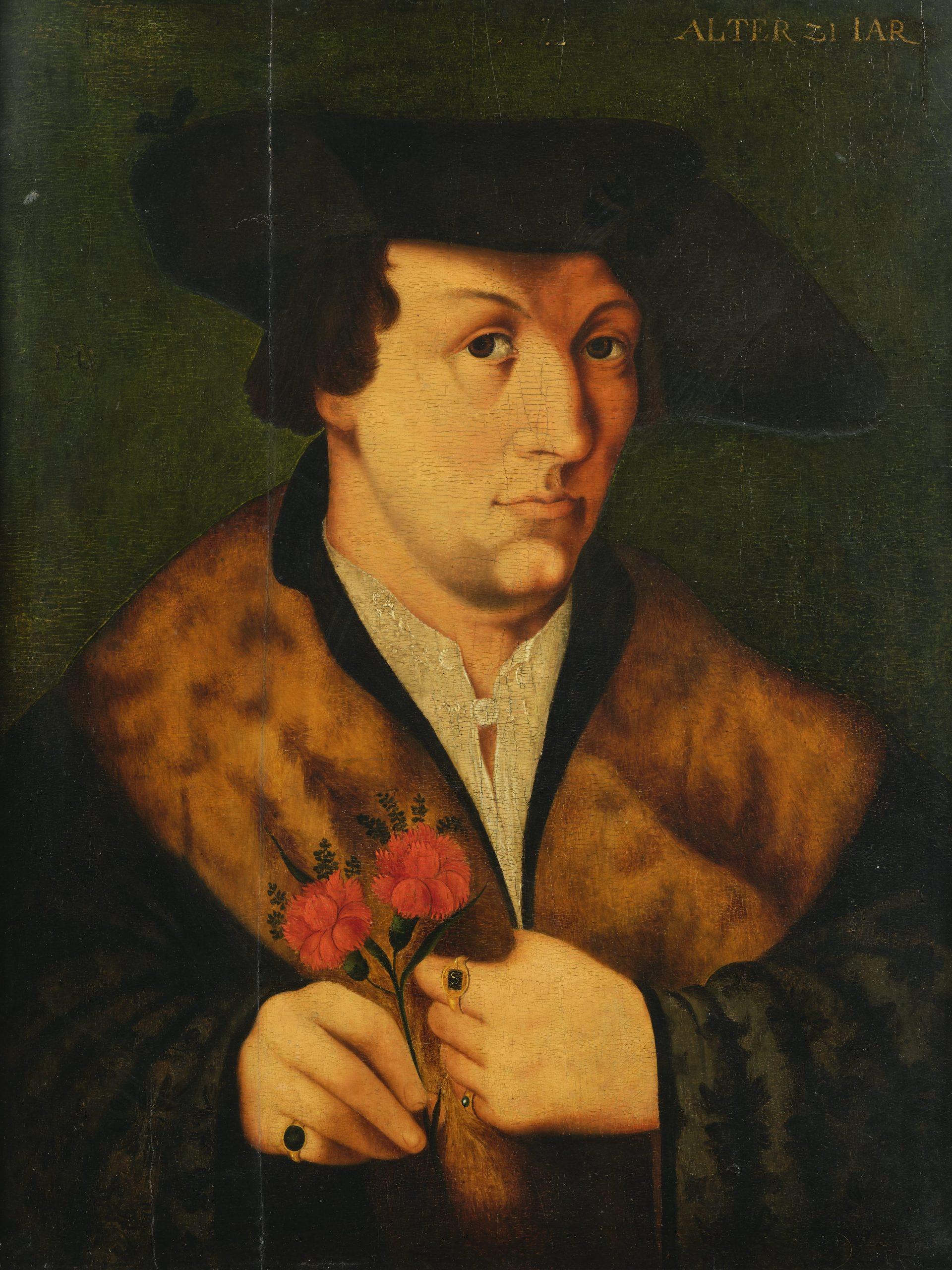 """Hans Burgkmair (attribuito a), Ritratto di uomo con garofano, reca iscrizione in alto a destra. Siglato """"HB"""" sul fondo a sinistra."""
