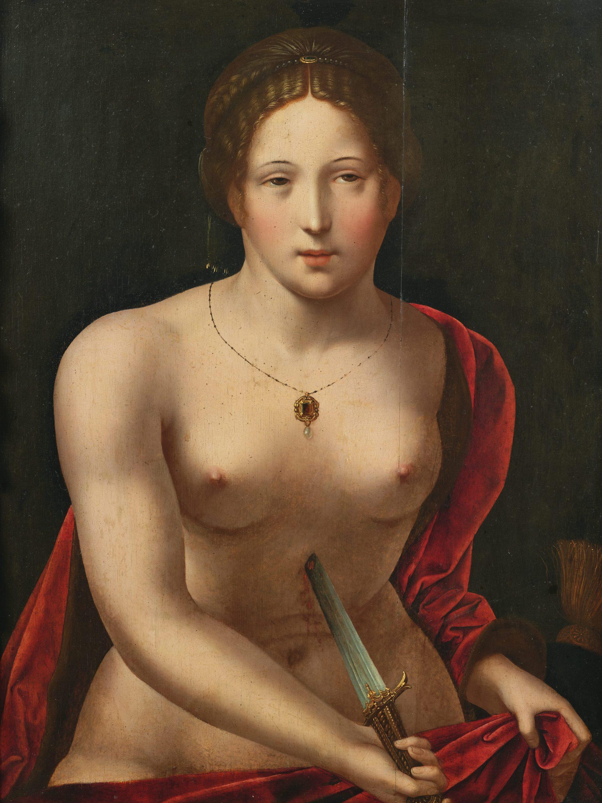 Maestro delle Mezze Figure Femminili, Suicidio di Lucrezia, in cornice dorata.