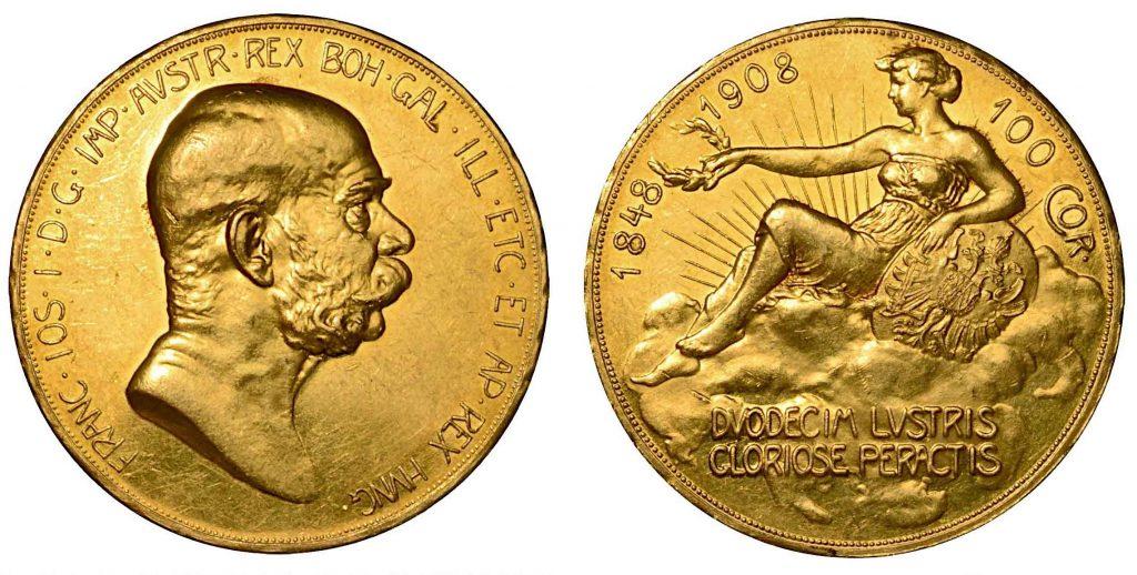 AUSTRIA. Franz Joseph, 1848-1916. 100 corone 1908. Busto a d. R/ Figura femminile adagiata sulle nuvole a s. Fr. 514. Oro. g. 33,86. SPL/FDC