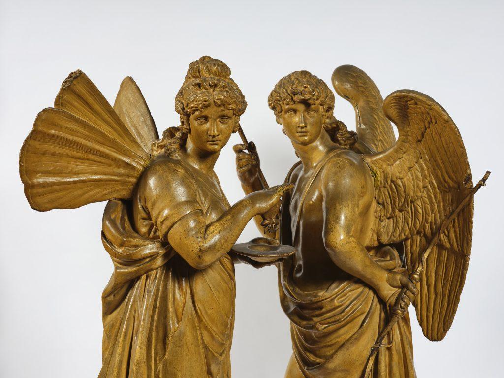 Amore e Psiche. Papier machè modellato e dipinto. Arte neoclassica italiana, XVIII-XIX secolo. Stima: 8.000 - 12.000 euro.